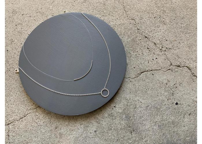 "комплект: подвеска с мятым кругом и подвеска на леске ""дуга"" // серебро"
