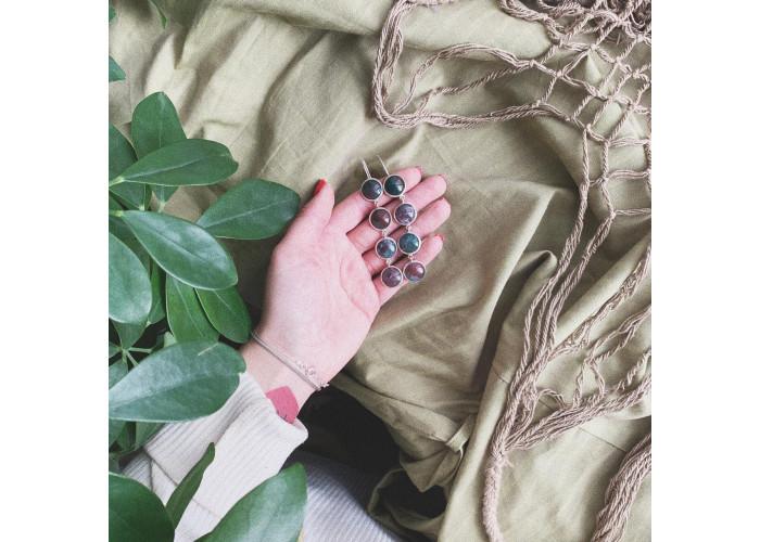 серёжки с камнями зелёной и бордовой яшмы // серебро