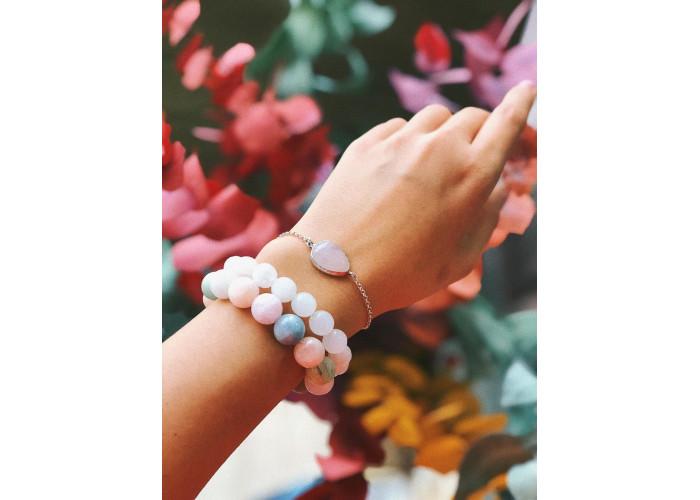 Комплект: браслеты с бусинами берилла 10 и 12 мм