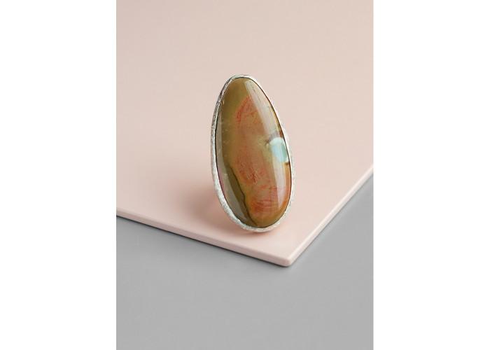 Кольцо с каплей коричневой яшмы // серебро