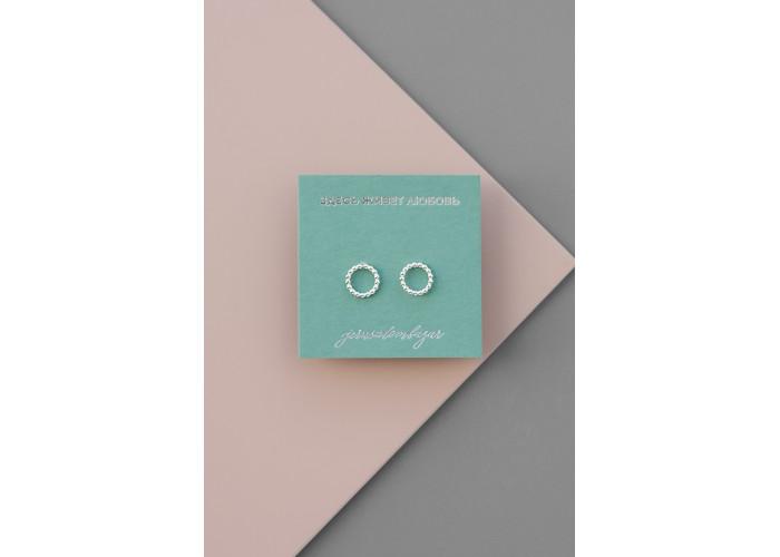 Cерёжки-пусеты с шариками маленькие // серебро