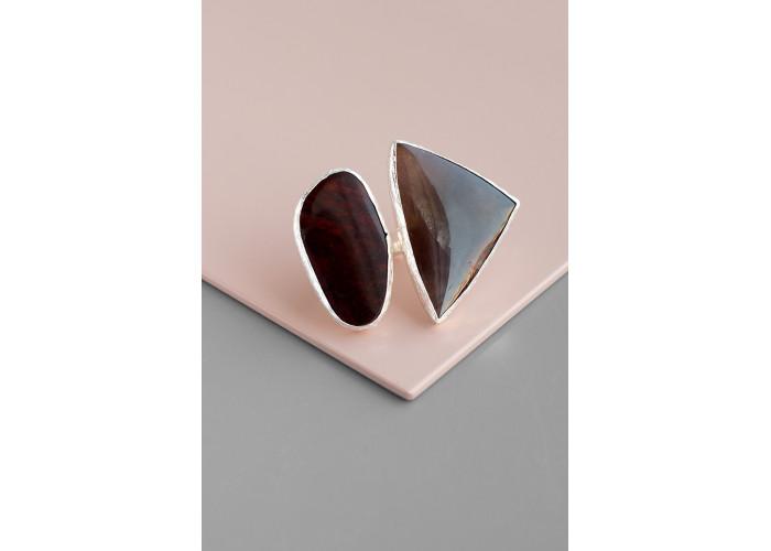 Кольцо с агатом и яшмой // серебро