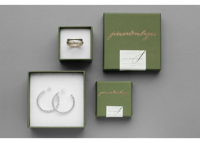 Комплект: серёжки-конго большие и кольцо-спиннер // серебро