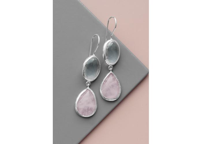 Серёжки с горным хрусталём и розовым кварцем // серебро