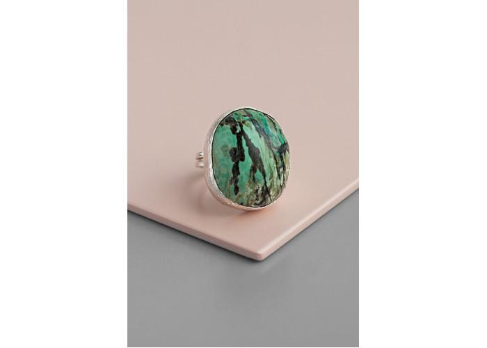 Кольцо с хризоколлой // серебро