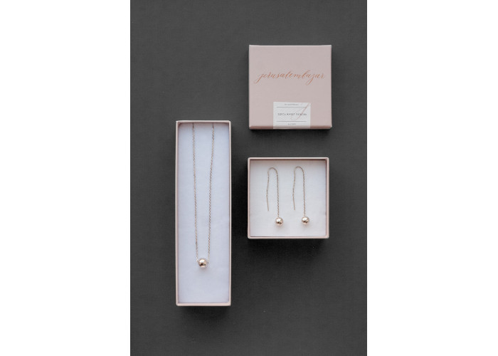 Серёжки-цепочки с серебряной бусиной // серебро