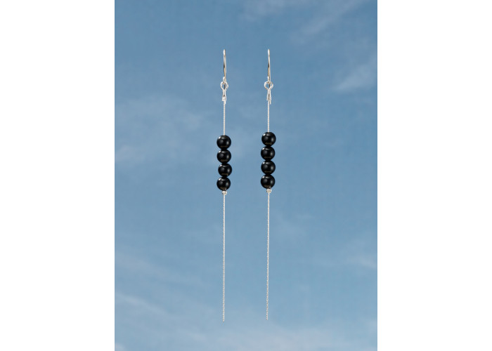 Серьги-цепочки с бусинами из чёрного агата // серебро