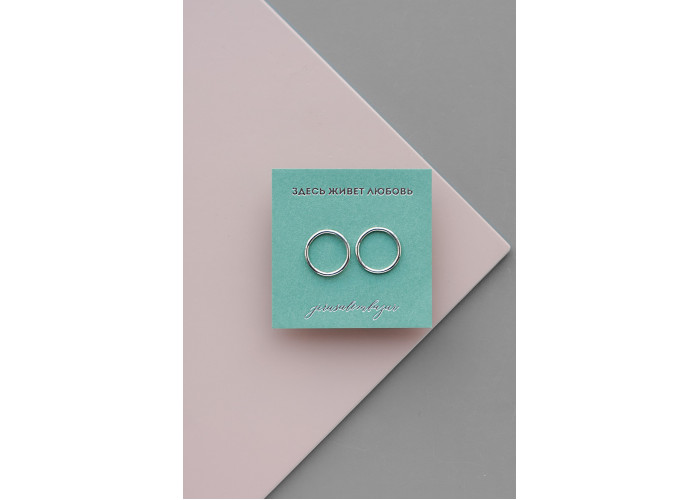 Серьги-гвоздики средний круг контур // серебро