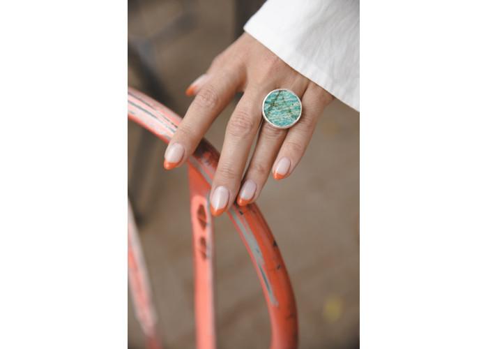 Кольцо с круглым амазонитом // серебро