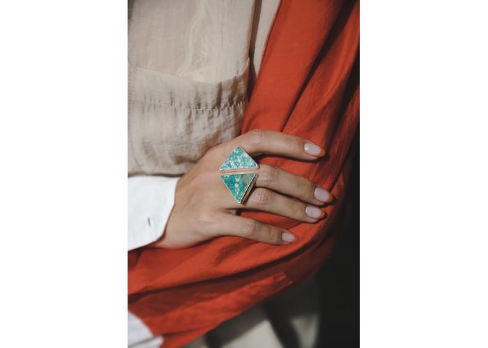 Кольцо с амазонитами // серебро