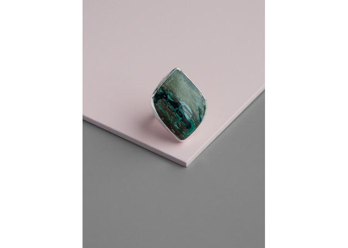 Кольцо с листиком малахита с хризоколлой // серебро