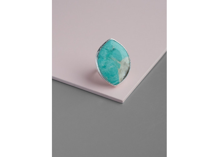 Кольцо с листиком амазонита // серебро