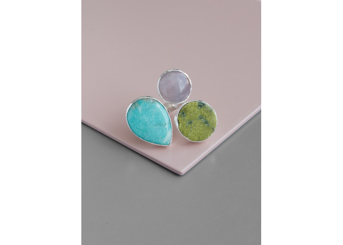 Кольцо с амазонитом, кварцем и змеевиком // серебро
