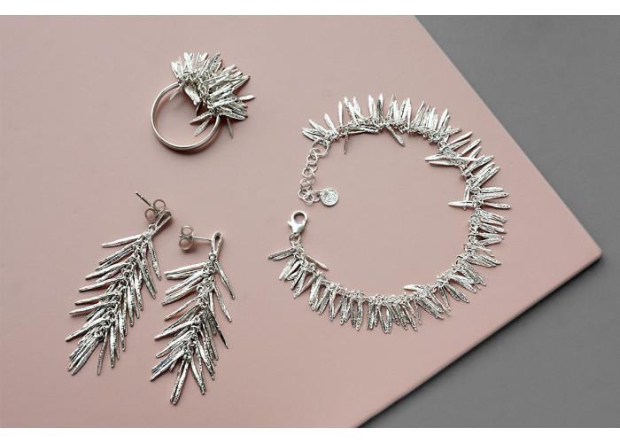 """Комплект: серёжки, кольцо и браслет """"Розмарин"""" // серебро"""