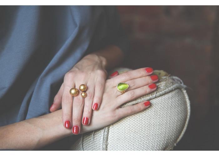 комплект: серёжки-диски и кольцо с тремя шариками // позолота