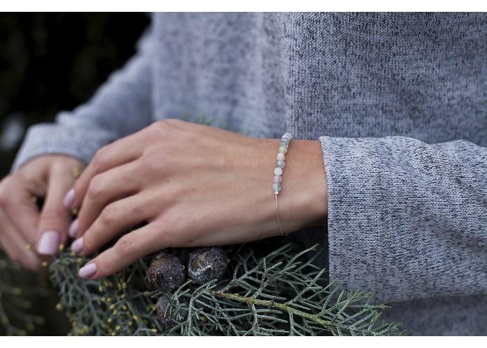 браслет на цепочке с бусинами берилла // серебро