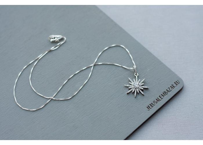 подвеска снежинка с фианитами // серебро