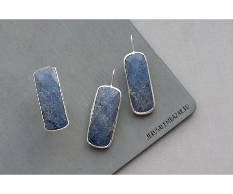 комплект: кольцо и сережки с лазуритом  // серебро