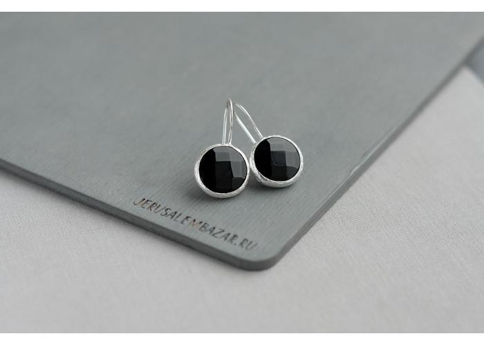 серёжки с чёрным гранёным ониксом // серебро