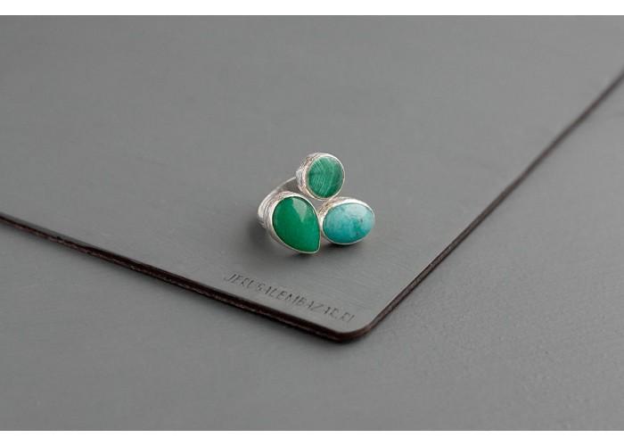 кольцо с амазонитом и зелёным агатом // серебро