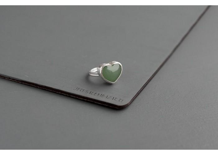 кольцо с сердечком из авантюрина // серебро