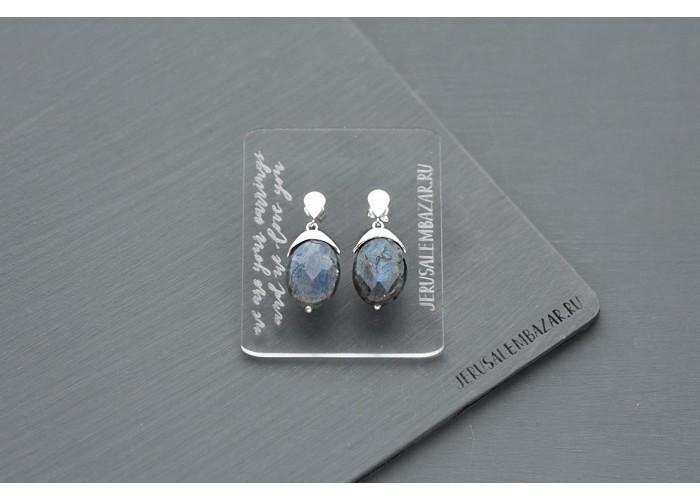 серёжки-гвоздики с гранёным лабрадоритом // серебро