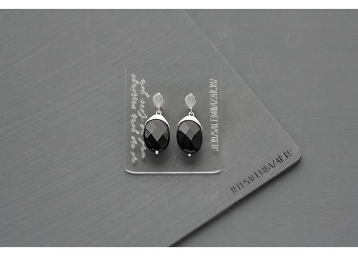серёжки-гвоздики с гранёным чёрным агатом // серебро