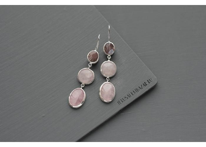 серёжки с гранёным гелиолитом и розовым кварцем // серебро