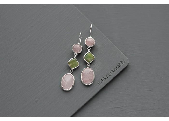 серёжки с розовым кварцем и везувианом // серебро