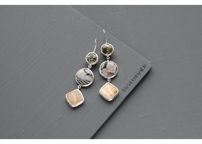 серёжки с риолитом, яшмой пикассо и кальцитом // серебро