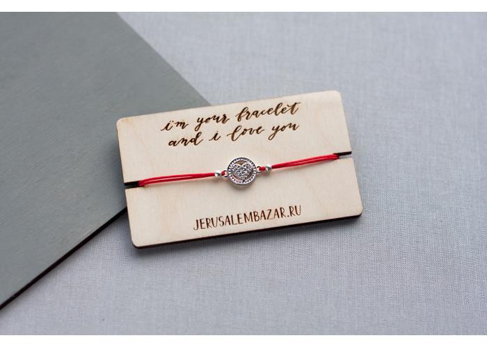 браслет на красной нити с сердечком // серебро