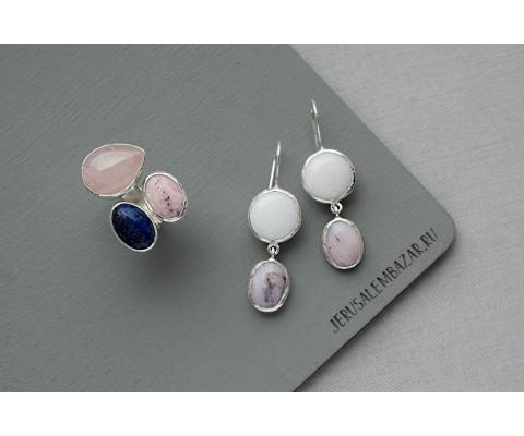 комплект: кольцо и серёжки с розовым кварцем, опалом, кварцем и лазуритом в серебре