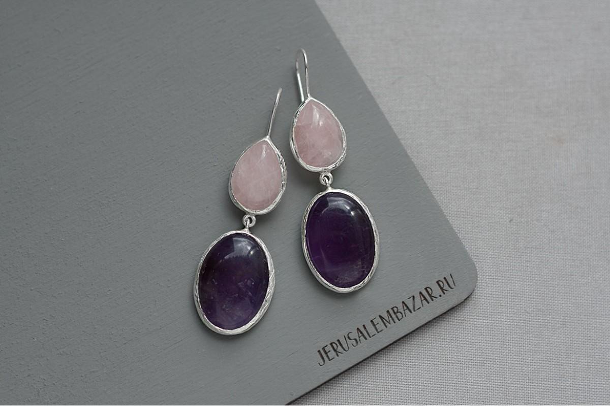 серёжки с  аметистом и розовым кварцем в серебре