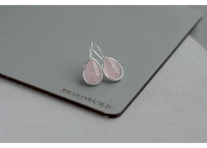 серёжки с каплей розового кварца // серебро