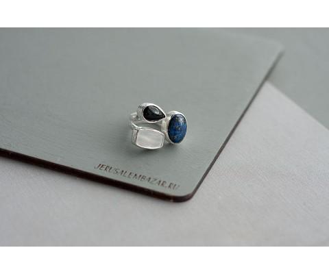 кольцо с лазуритом, агатом и перламутром // серебро