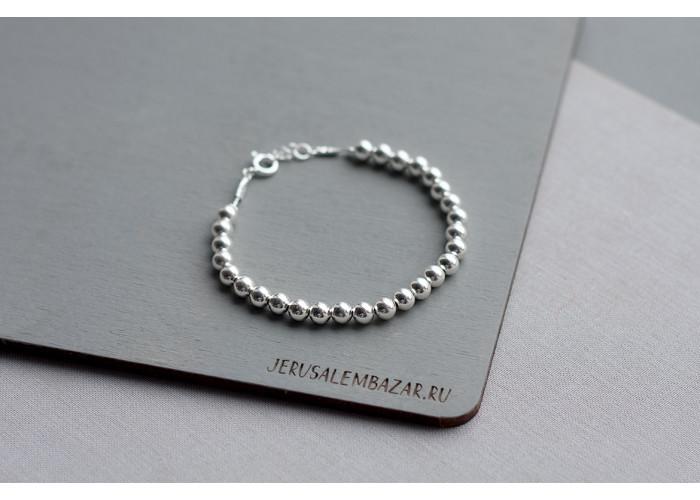 браслет сплошной с серебряными бусинами // серебро