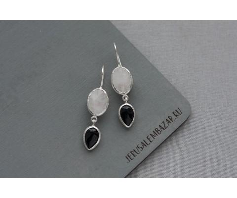 серёжки с лунным камнем и агатом в серебре