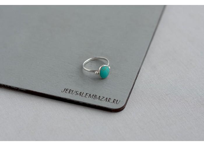 кольцо овал с бирюзовой эмалью // серебро