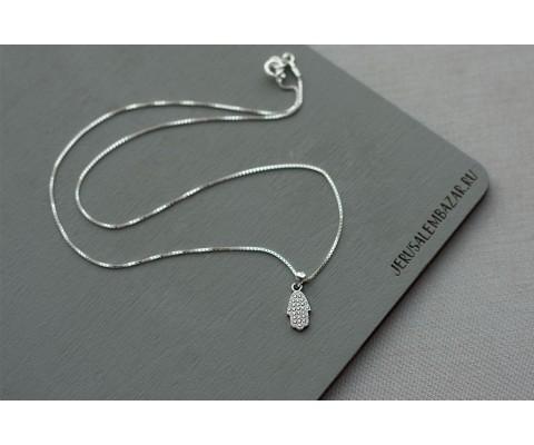 подвеска хамса с цирконами // серебро