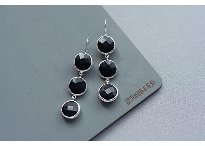 Серёжки с тремя чёрными ониксами // серебро