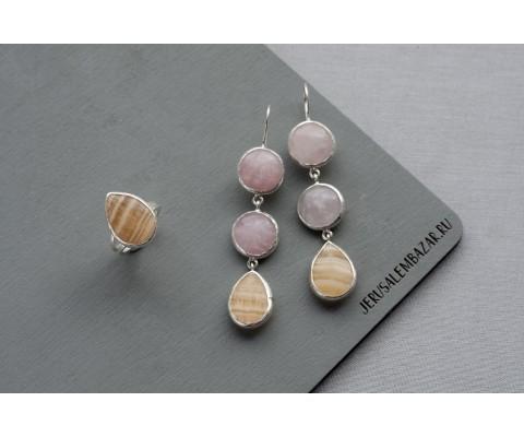 комплект: кольцо и сережки с кальцитом и розовым кварцем  // серебро