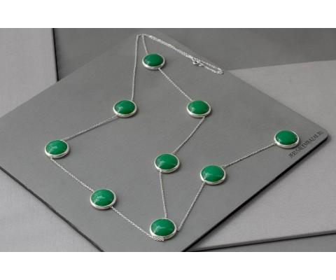 сотуар с зелёным агатом // серебро