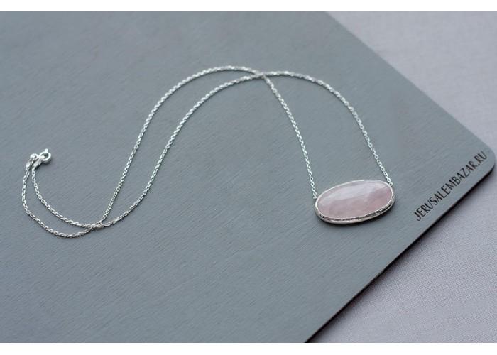 подвеска с розовым кварцем в серебре