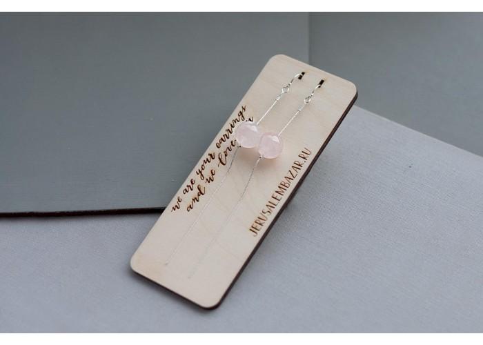 серёжки-цепочки с бусиной розового кварца // серебро