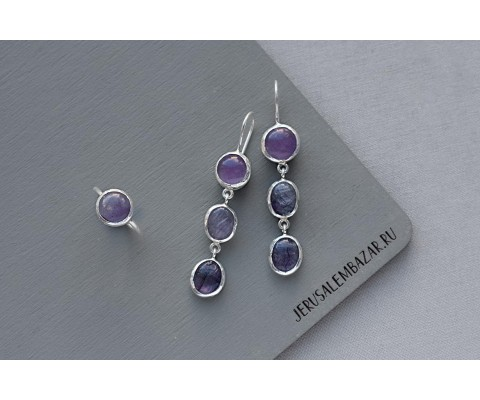 комплект: кольцо и сережки с аметистом  // серебро