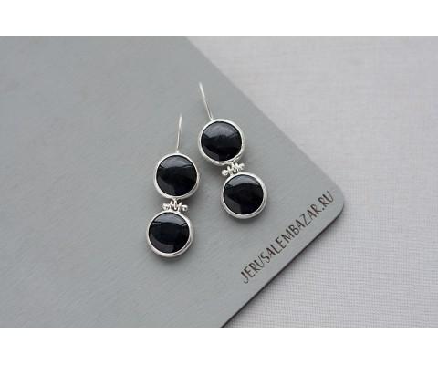 серёжки с двумя чёрными агатами в серебре