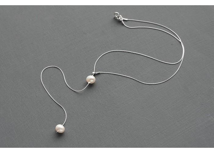 сотуар с двумя бусинами из речного жемчуга // серебро