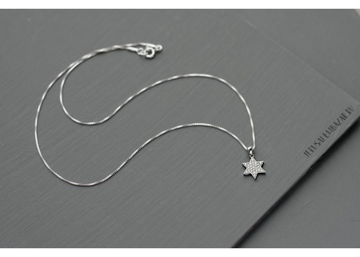 подвеска на цепочке звезда давида с цирконами // серебро