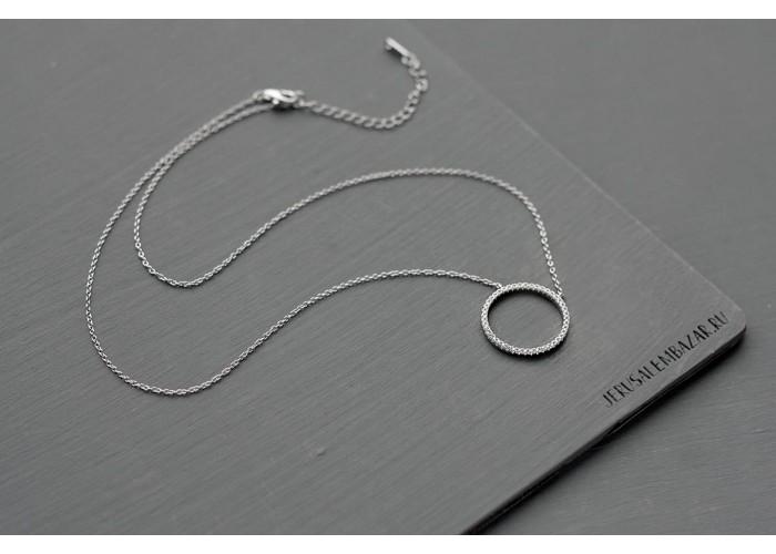 подвеска круг с фианитами // серебро