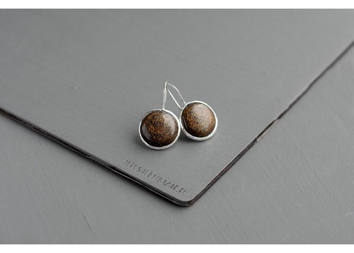 серёжки круглые с бронзитом // серебро